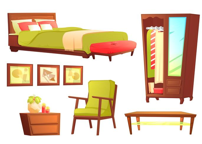 Living or bedroom object set with leather sofa and wooden shelf  vector