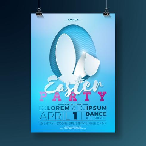 Vektor-Osterfest-Flieger-Illustration mit den Hasenohren und Typografieelementen