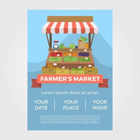 Modello di vettore di Flat Farmer's Market Flyer