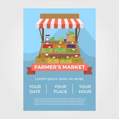 Flat Farmers Market Flyer Vector Mall