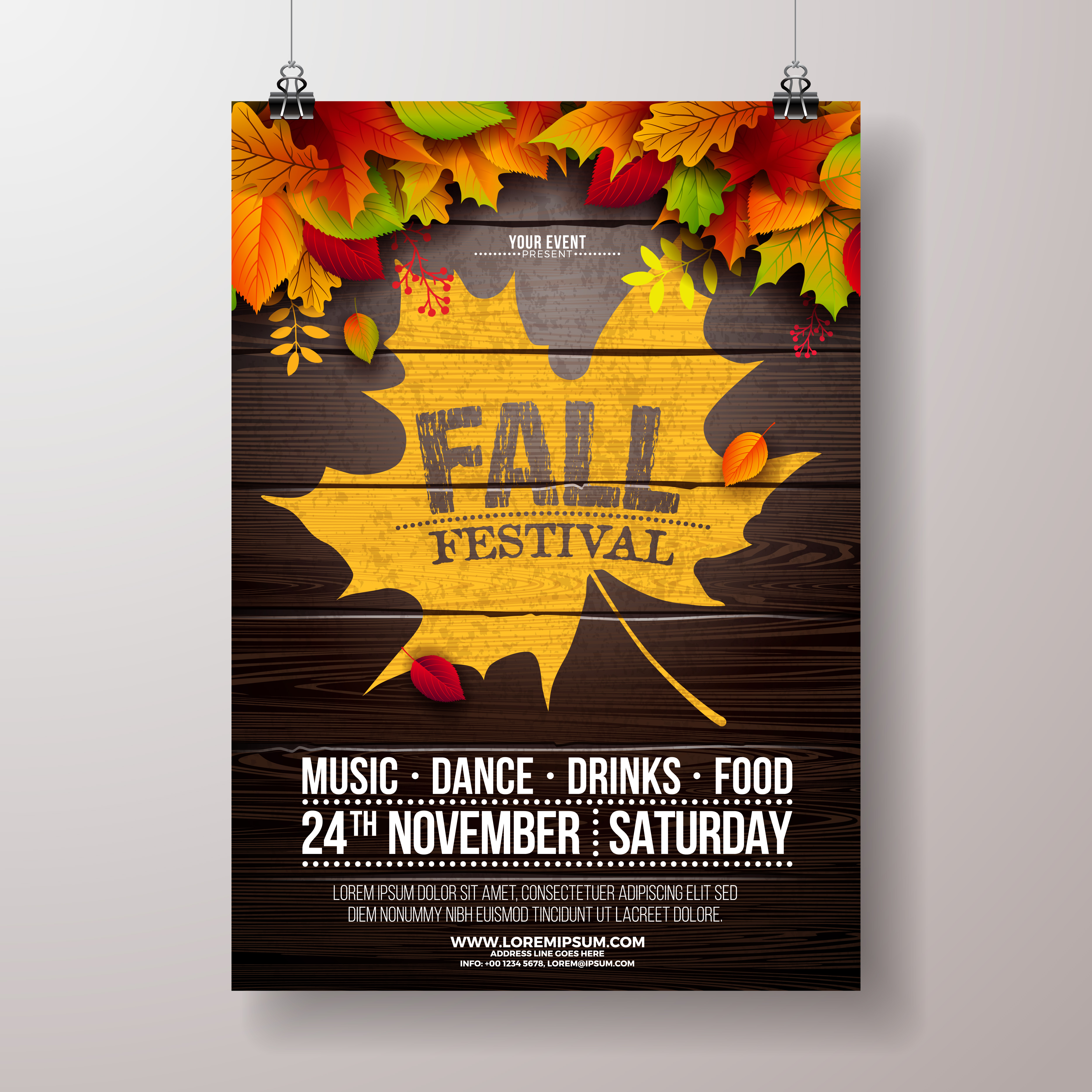 autumn party flyer illustration with falling leaves and