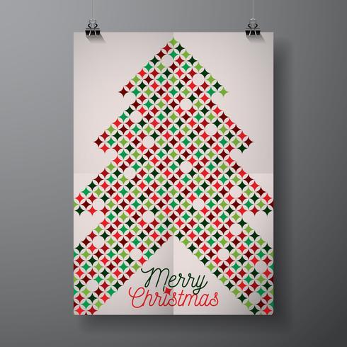 Vector illustration de vacances de joyeux Noël avec la conception typographique et motif de texture couleur abstraite sur fond propre