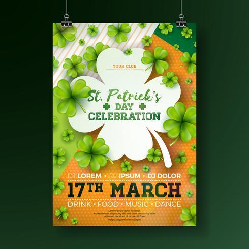 Illustrazione dell'aletta di filatoio del partito del giorno di San Patrizio con la lettera di tipografia e del trifoglio su fondo astratto. Vector Irish Lucky Holiday Design per Celebration Poster, Banner o invito.