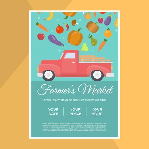 Flat Local Farmer's Market Flyer Vector Template