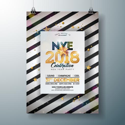 2018 Nyårsfest firande affischsmall illustration med glänsande guldtal på abstrakt svart och vit bakgrund. Vector Holiday Premium Invitation Flyer eller Promo Banner.