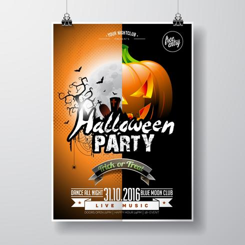 Vector Halloween Party Flyer Design with typographic elements and pumpkin on orange background.