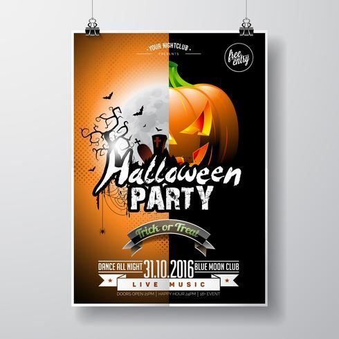 Vector Halloween Party Flyer Design avec éléments typographiques et citrouille sur fond orange.
