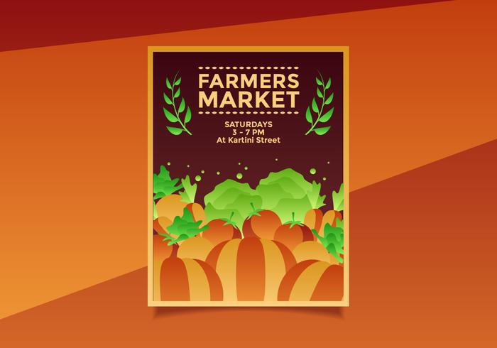 Flyer Design Farmers Market Schablonenvektor