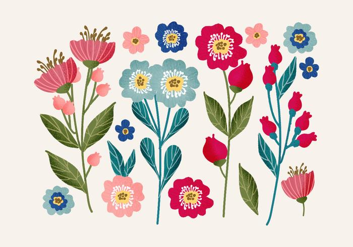 Vector Hand Drawn Floral Set
