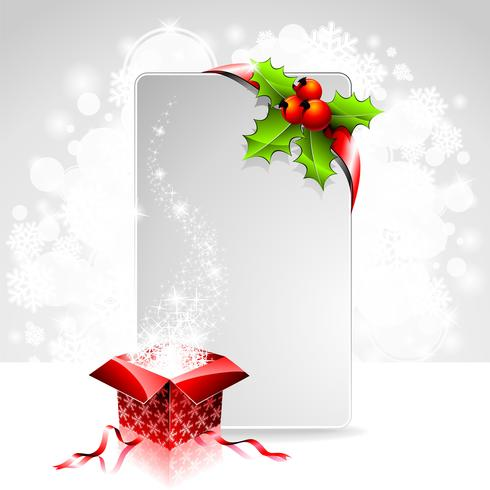 Holiday illustration on a Christmas theme with gift box