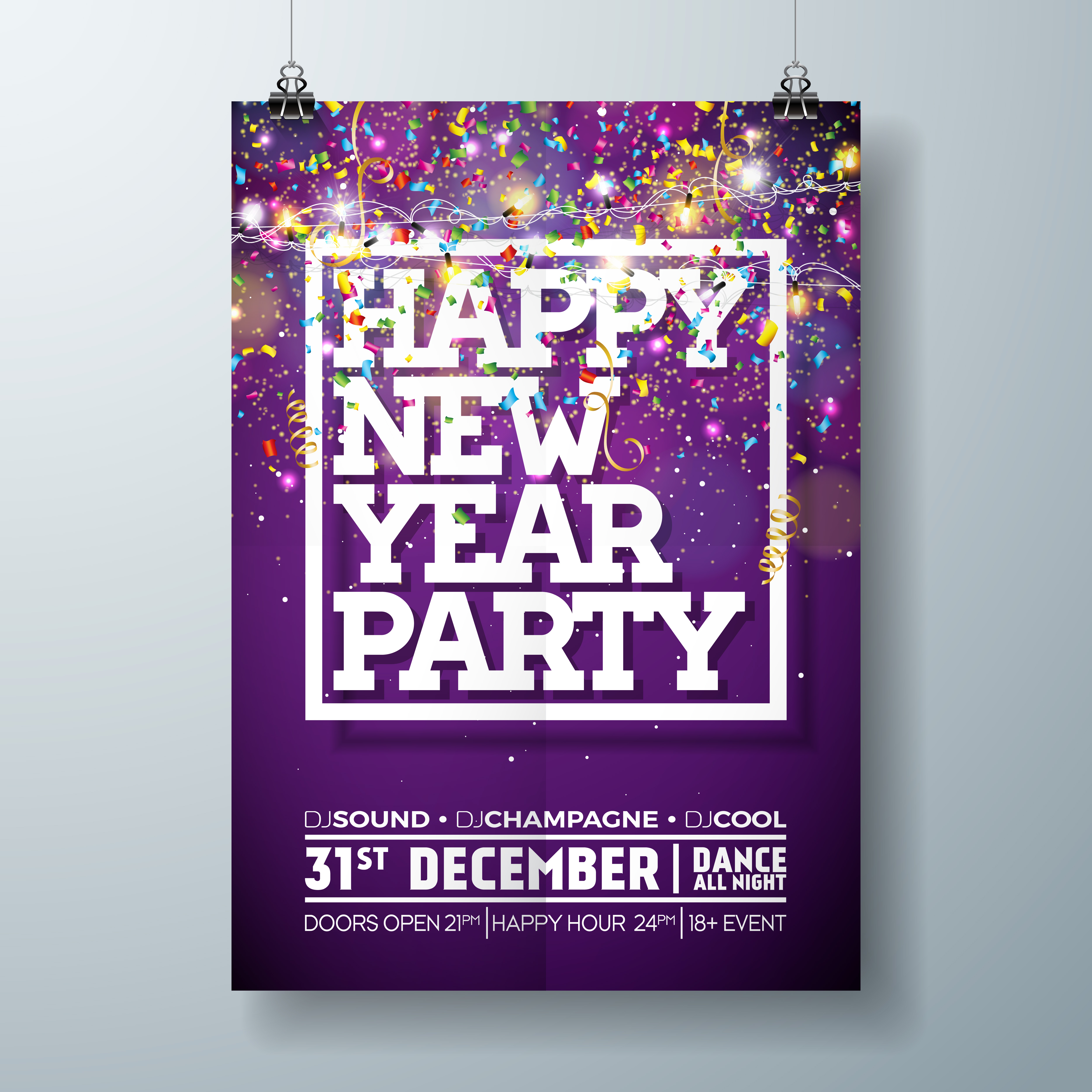 new year party celebration poster template illustration with typography design and falling