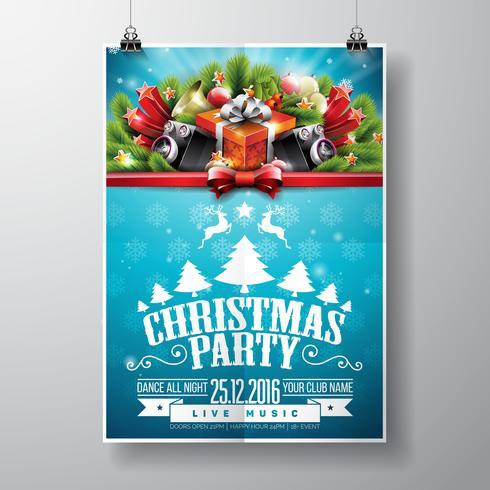 Diseño feliz de la fiesta de Navidad del vector con los elementos y los altavoces de la tipografía del día de fiesta en fondo brillante.