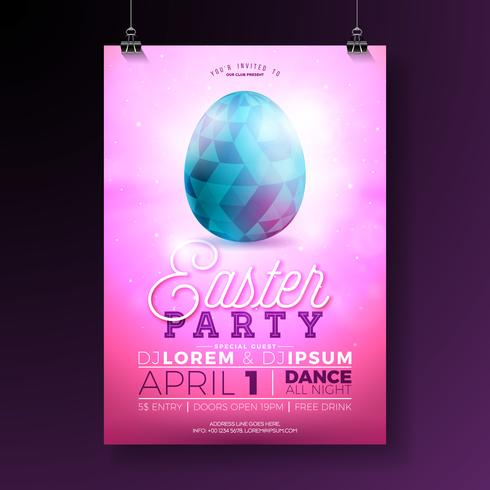 Vector Easter Party Flyer Illustration with painted eggs, rabbit ears and typography elements