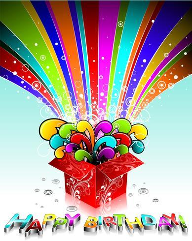 Vector Happy Birthday illustration wit magic gift box.