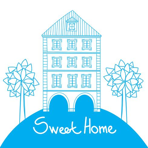 Doodle style house vector