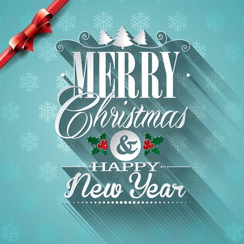 Vector a ilustração de Natal com design tipográfico e fita em fundo de flocos de neve.