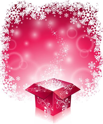 Vector el ejemplo de la Navidad con diseño tipográfico y la caja de regalo mágica brillante en fondo de los copos de nieve.