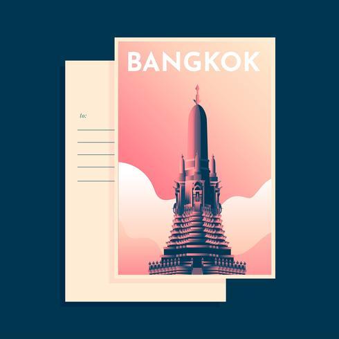 Wat Arun Bangkok Postcard Template Vector