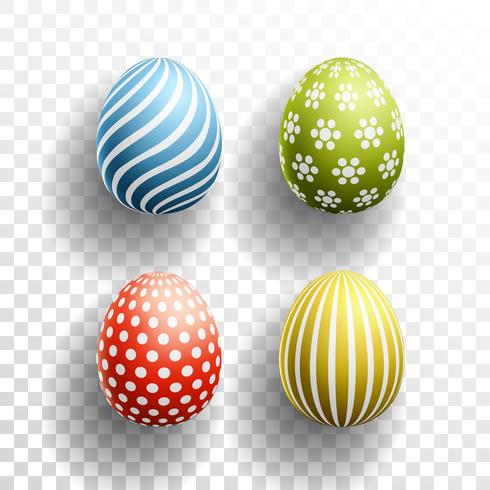 Happy Easter colored Eggs set with shadows on transparent background