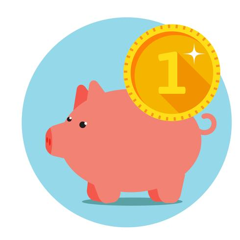 Infographics of Three piggy pig with coins vector