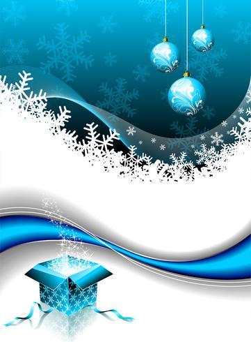 Ilustração de Natal com caixa de presente mágica e bola de vidro em fundo azul