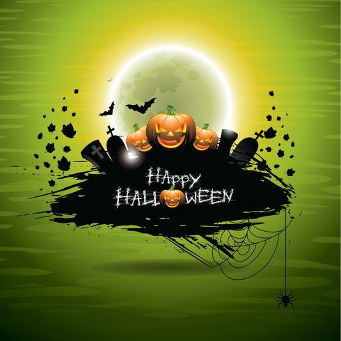 Ilustración vectorial sobre un tema de Halloween en fondo verde vector