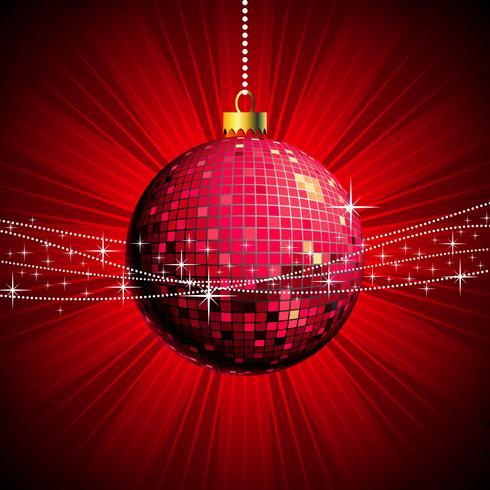 Ilustração de Natal com bola brilhante e estilo discoteca
