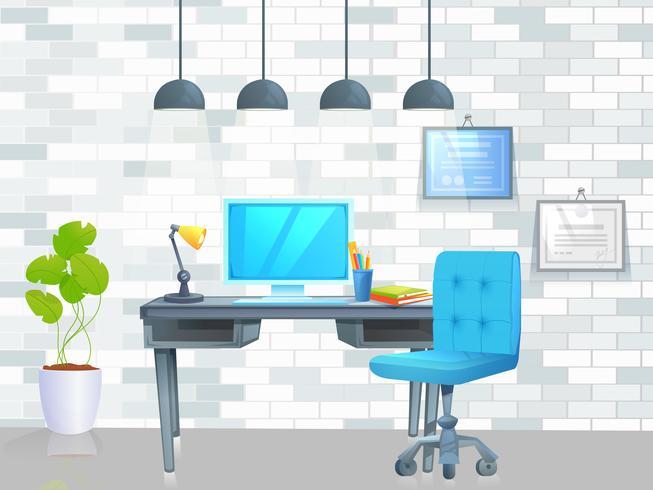Lieu de travail avec table et ordinateur portable et café vecteur