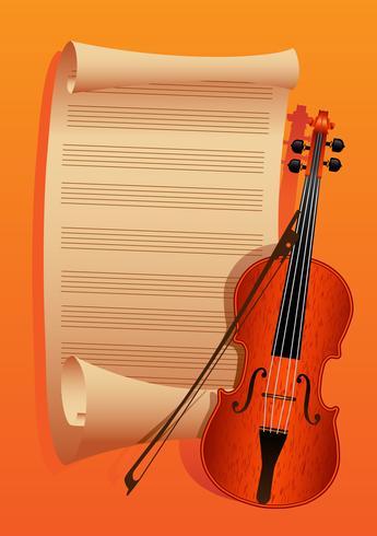 violino e arco em um papel de fundo