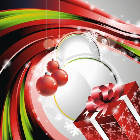 Vector ilustración de Navidad con caja de regalo.