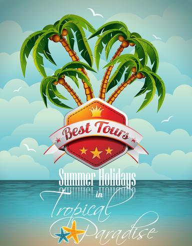 Vector de diseño de volante de vacaciones de verano con palmeras y mejor Tour Banner