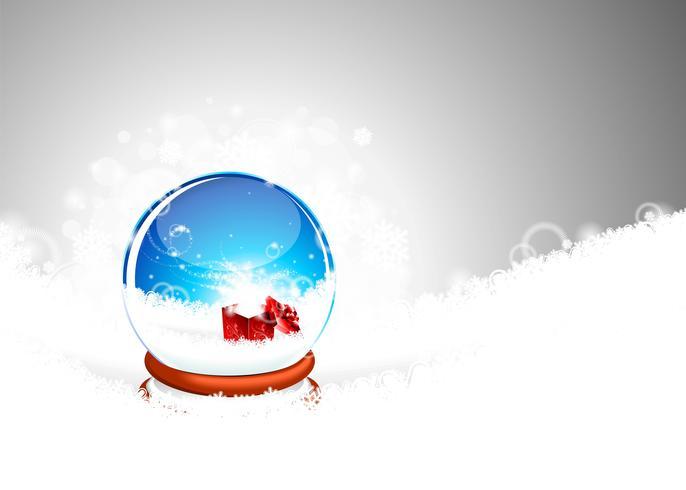 Illustration de Noël avec boîte-cadeau sur les snowlakes.