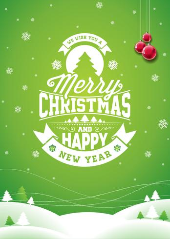 Vector Merry Christmas Holiday and Happy New Year illustration
