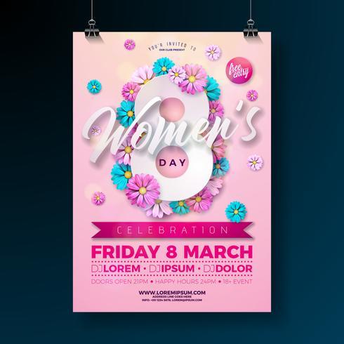 Ilustração de panfleto de festa de dia das mulheres com flores em fundo rosa vetor