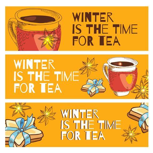 Gebunden mit einer Tasse heißen Tee und Keksen in Form eines Sterns mit blauem Band vektor