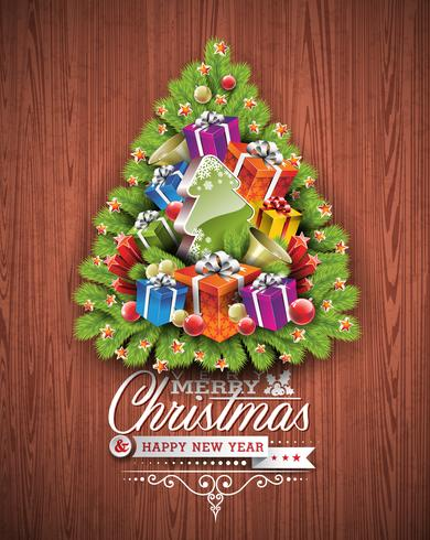 Joyeux Noël et bonne année conception typographique avec des éléments de vacances sur fond de texture du bois. vecteur