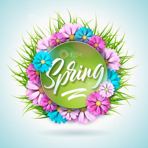 Spring nature design with beautiful colorful flower on green grass background vector
