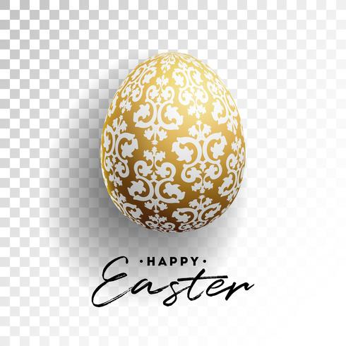 Vector Illustration of Happy Easter Holiday with Painted Egg on Transparent Background