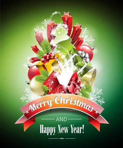 Vektor jul illustration med magiska presentlådor och glänsande semester