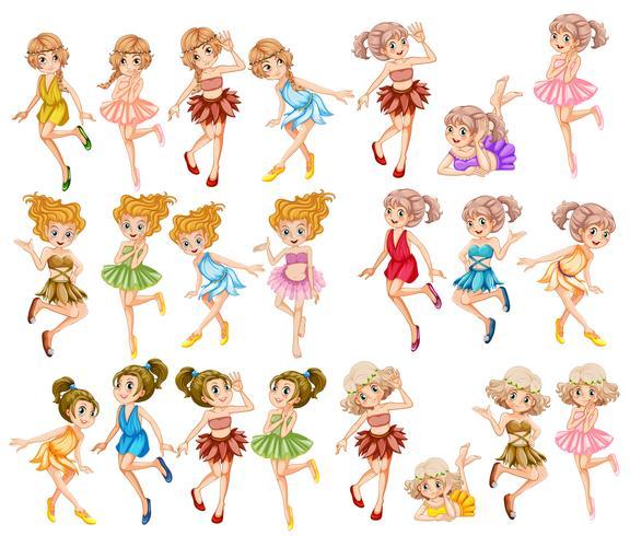 Mooie feeën in kleurrijke kleding