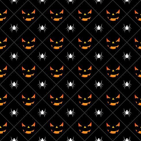 Ilustración de patrones sin fisuras de Halloween con calabazas caras de miedo y arañas