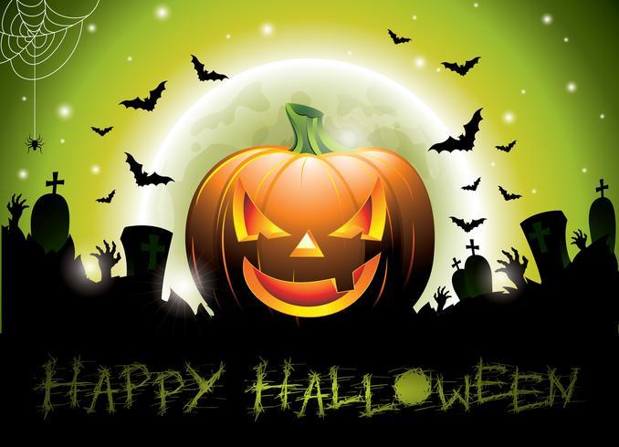 Illustration vectorielle sur un thème Happy Halloween avec citrouille.