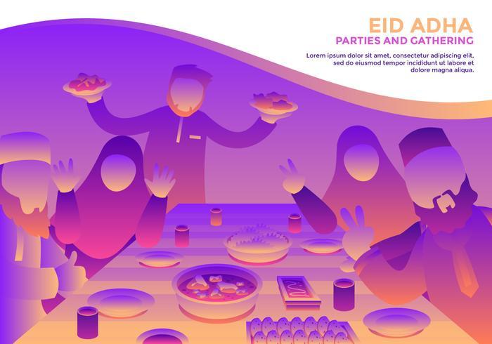 Eid Adha Fiestas Y Reuniones Vector