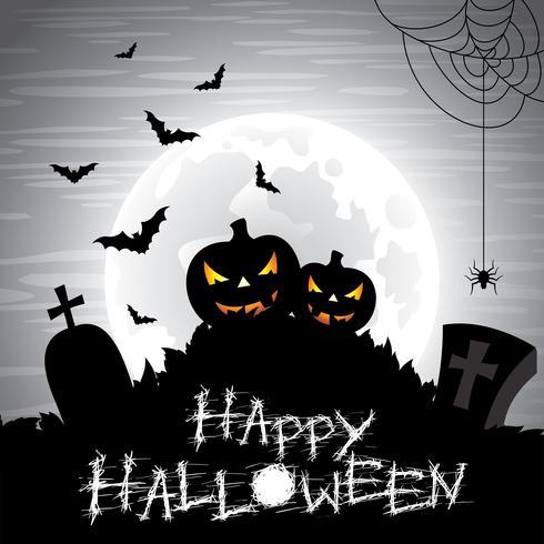 Illustration vectorielle sur un thème d'halloween sur fond de lune.