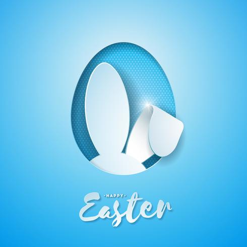 Vector Illustration of Happy Easter Holiday with Rabbit Ears in Cutting Egg