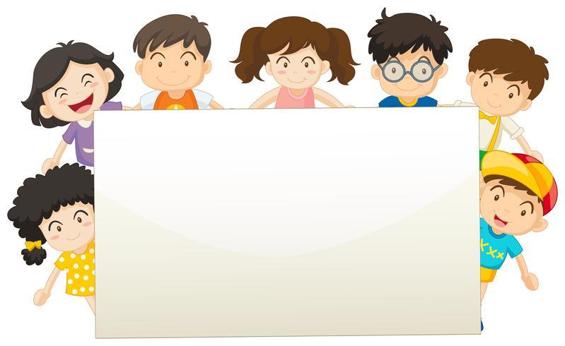 Modelo de placa com crianças felizes