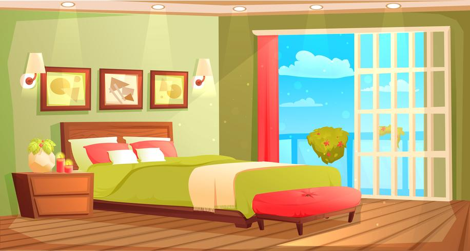 Bedroom interior with a bed, nightstand, wardrobe, & plant vector