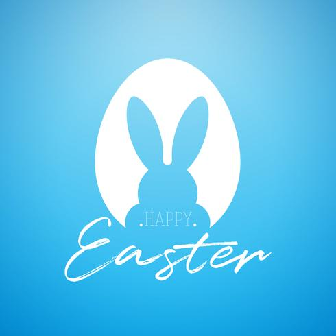 Vector Happy Easter Holiday Illustration with Rabbit Ears in Cutting Egg