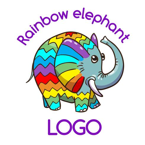 Multicolor Elephant Emblem for Your Business  vector