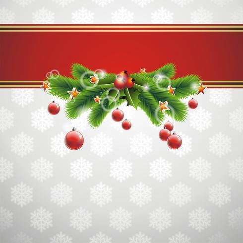 Weihnachtsillustration mit mit glänzender Glaskugel auf Schneeflockenhintergrund.
